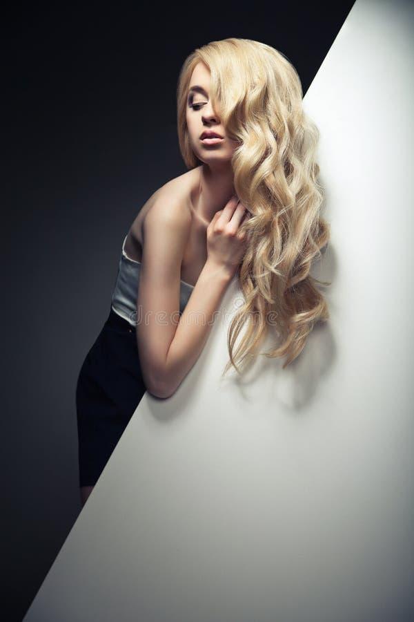 Bei capelli lunghi su una donna attraente immagini stock