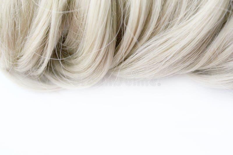 Bei capelli Capelli marrone chiaro I capelli sono riuniti in un panino su un fondo bianco con spazio libero per testo Per un mani immagine stock libera da diritti