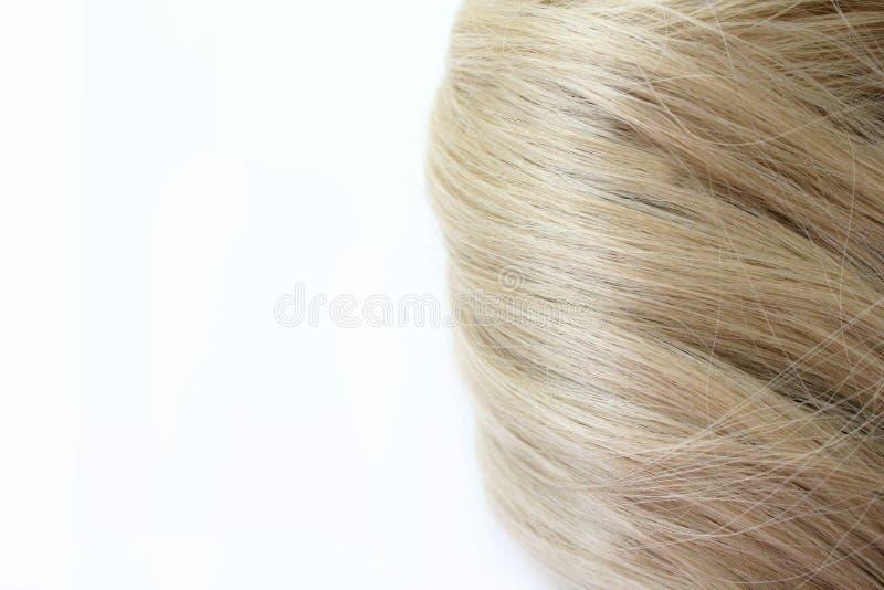 Bei capelli Capelli marrone chiaro I capelli sono riuniti in un panino su un fondo bianco con spazio libero per testo Per un mani fotografia stock libera da diritti