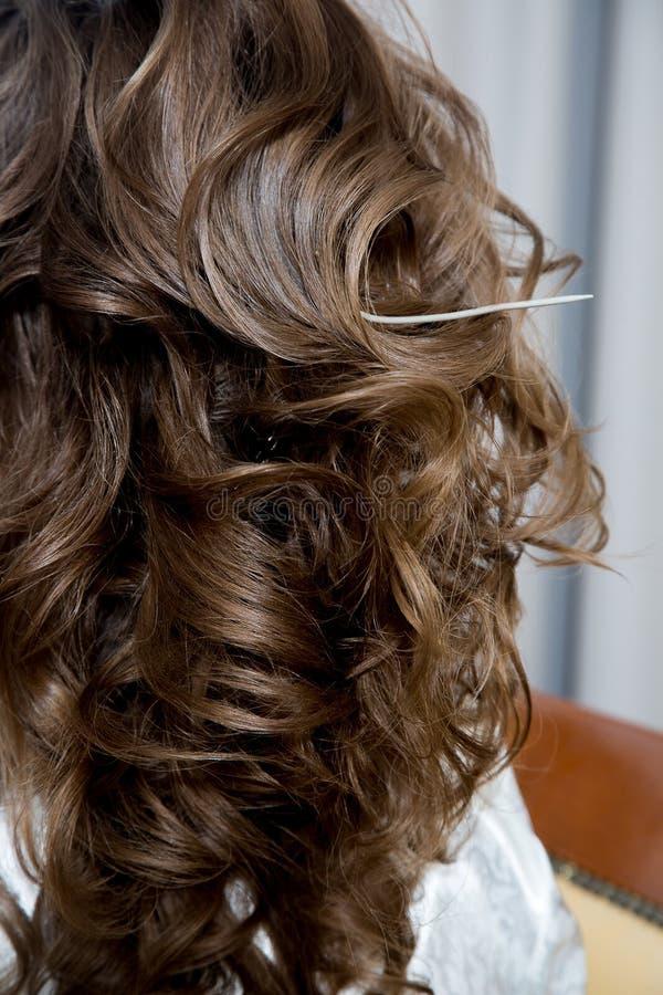 Bei capelli marroni disegnati nei capelli della sposa fotografie stock