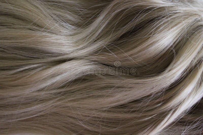 Bei capelli Capelli marroni ricci lunghi Macchiando nel colore marrone chiaro naturale immagini stock libere da diritti