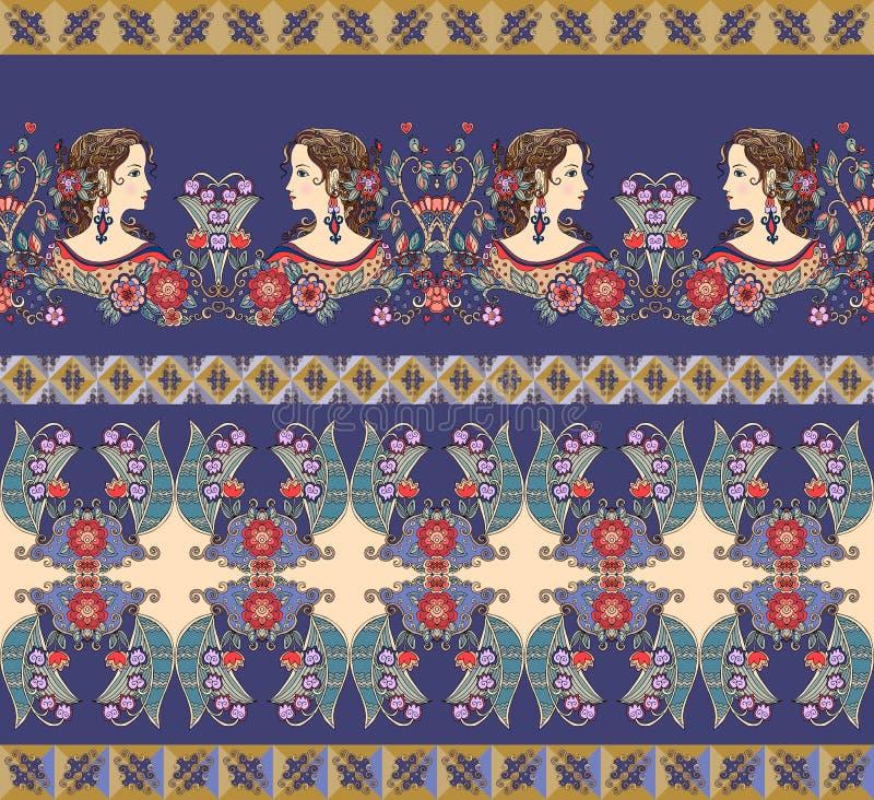 Bei confini con i ritratti ed i fiori delle donne royalty illustrazione gratis