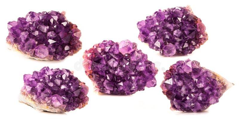 Bei cristalli scintillanti, pietra preziosa isolata fotografie stock libere da diritti