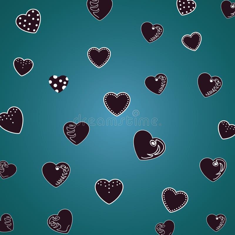 Bei cuori su verde scuro, fondo del modello della malachite Per i tessuti, tessuti Stampa sveglia romantica, struttura Vettore illustrazione vettoriale