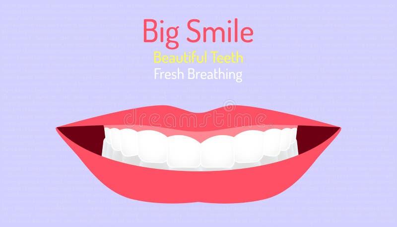 Bei denti e carne di grande sorriso che respirano dente piacevole di buona manifestazione dentaria della bocca fondo del caratter illustrazione vettoriale