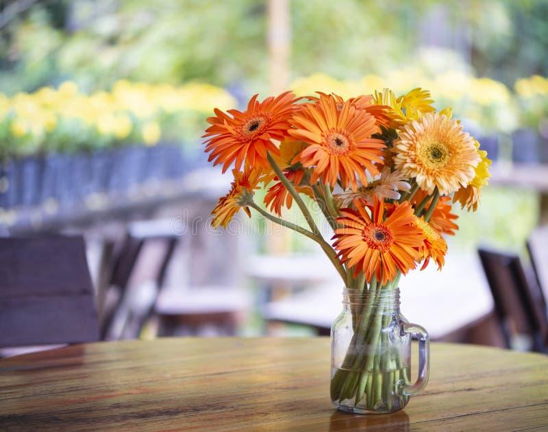 Bei di fiori colorati multi del geranio in un vaso di vetro su una tavola dell'alimento, fotografie stock
