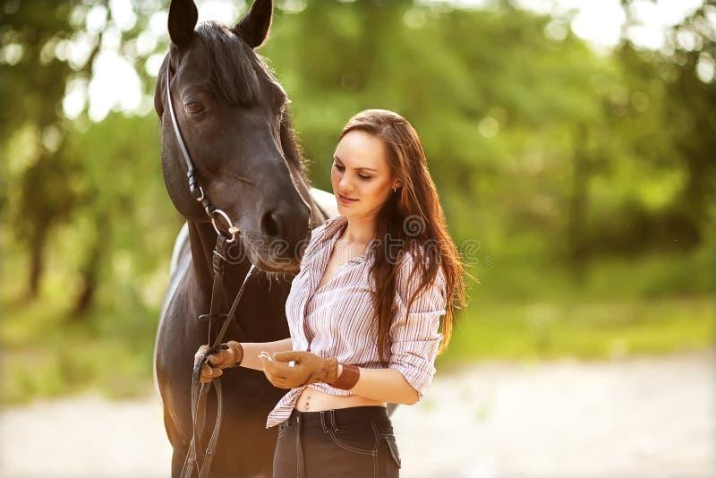 Bei donna e cavallo fotografia stock