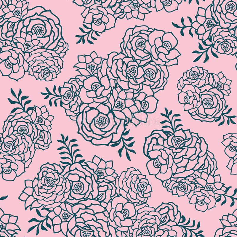Bei due hanno colorato il rosa ed il modello senza cuciture verde con le rose, foglie Linee di contorno disegnate a mano illustrazione vettoriale