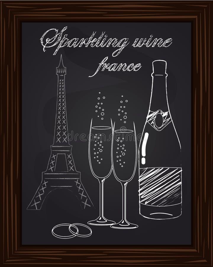Bei due vetri e una bottiglia di champagne sui precedenti royalty illustrazione gratis
