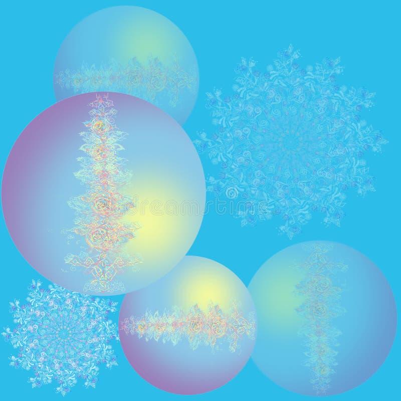Bei fiocchi di neve d'ardore delle palle di Natale Scheda di nuovo anno felice Palle blu con il fiore e l'immagine openwork Prior illustrazione vettoriale