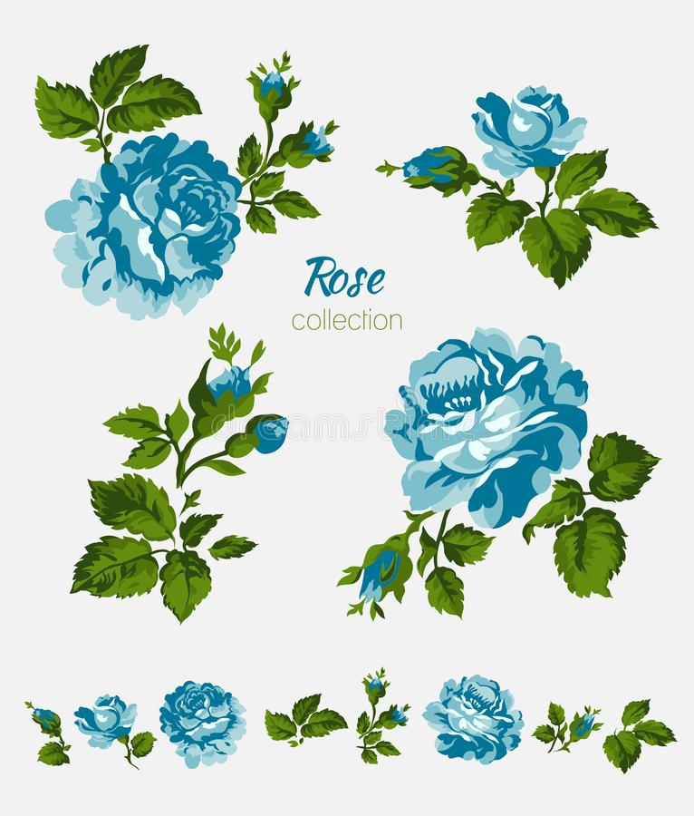 Bei fiori blu isolati sui precedenti bianchi Insieme degli elementi differenti di progettazione floreale illustrazione di stock