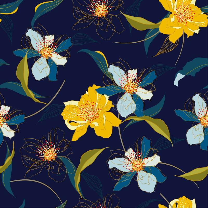 Bei fiori del fiore di ciliegia e linea di fioritura senza cuciture fondo con il vettore del fogliame elegante Modello senza fine illustrazione di stock