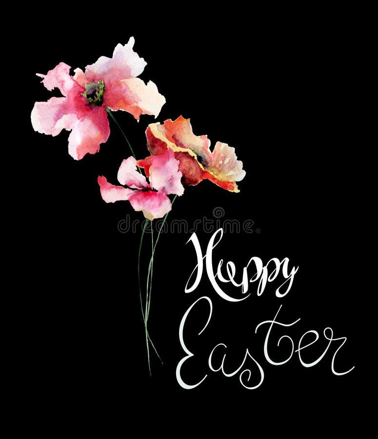 Bei fiori del papavero con il titolo Pasqua felice royalty illustrazione gratis