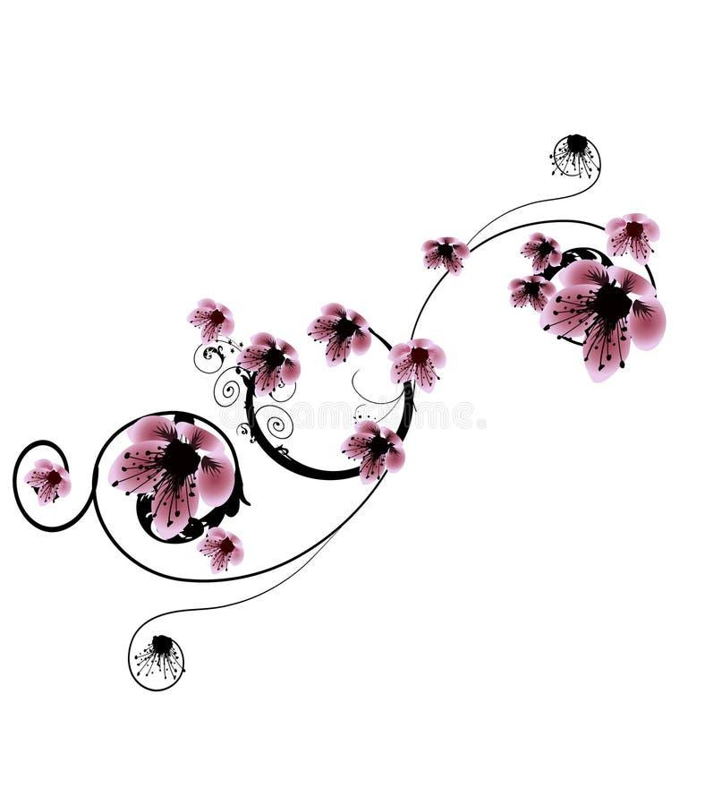 Bei fiori della ciliegia illustrazione vettoriale