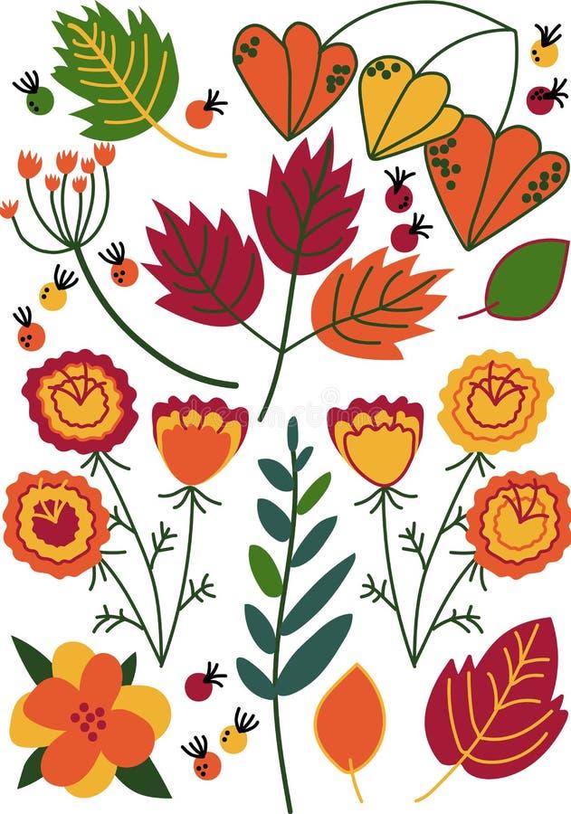 Bei fiori di fioritura selvaggi variopinti, erbe, angiosperme erbacee, modello senza cuciture floreale, decorazione stagionale royalty illustrazione gratis