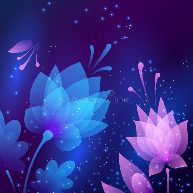Bei fiori di notte futuristici Scheda astratta illustrazione di stock