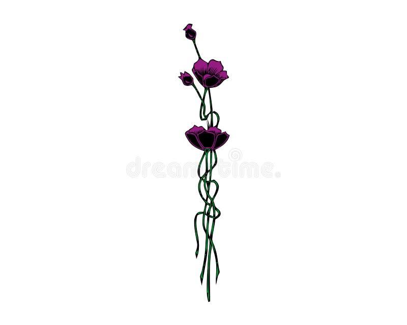 Bei fiori isolati sui precedenti bianchi Elementi di disegno di colore royalty illustrazione gratis