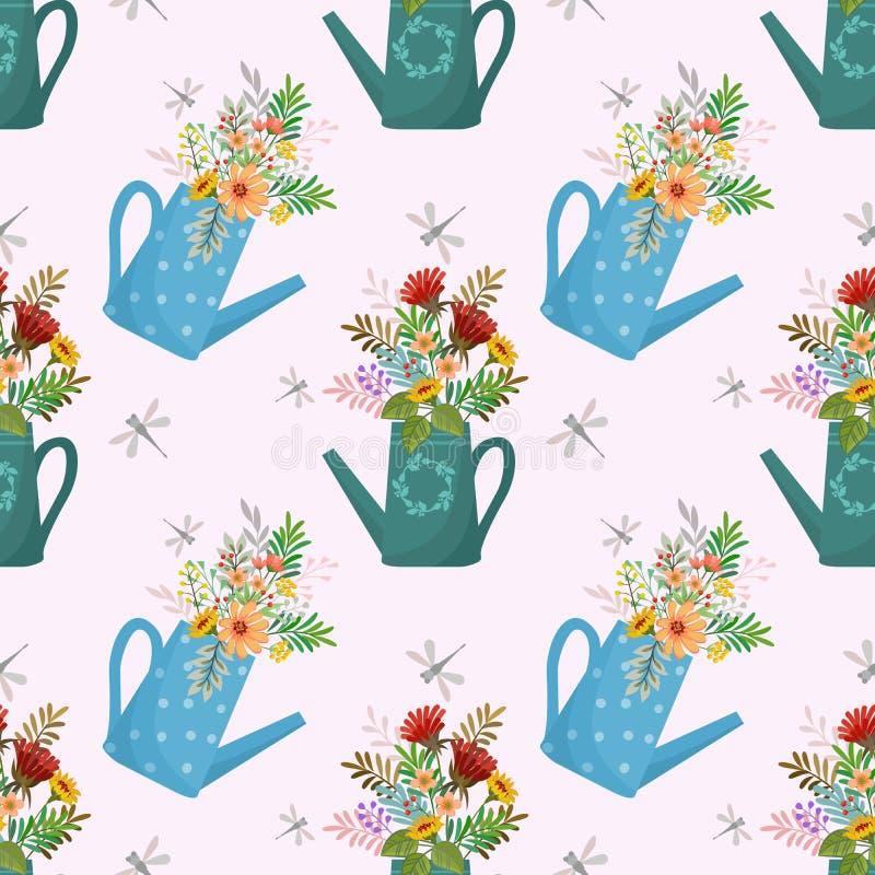 Bei fiori nel modello senza cuciture degli annaffiatoi royalty illustrazione gratis