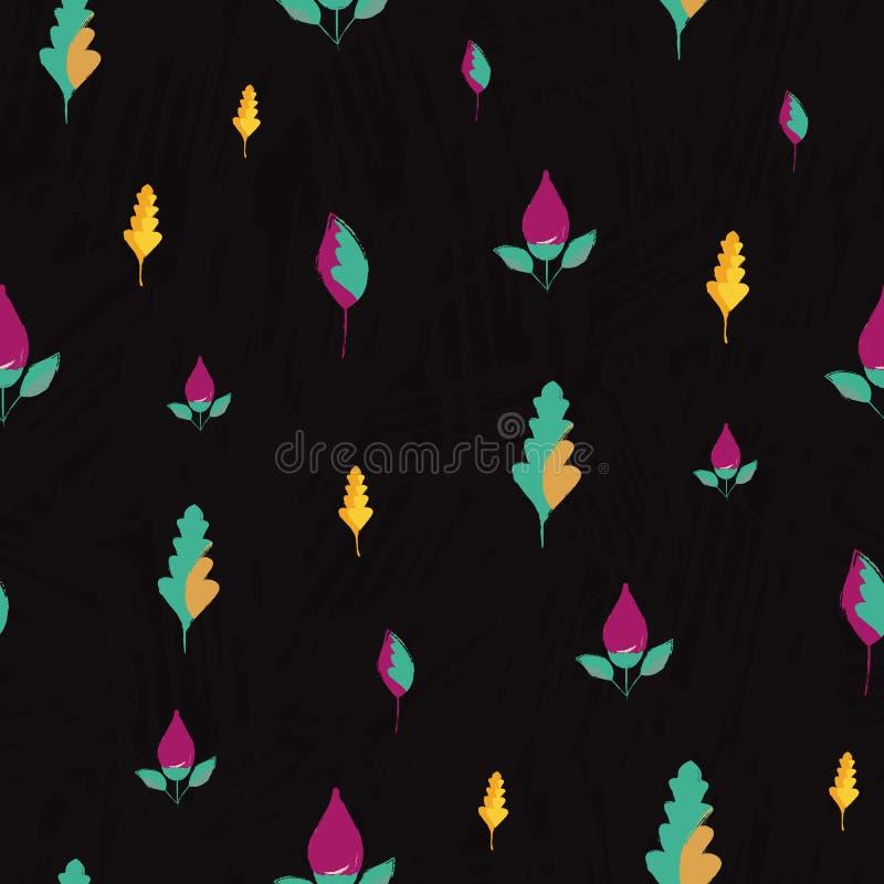 Bei fiori porpora disegnati a mano e foglie blu dorate Modello senza cuciture di vettore sul fondo strutturato dell'ardesia sotti royalty illustrazione gratis
