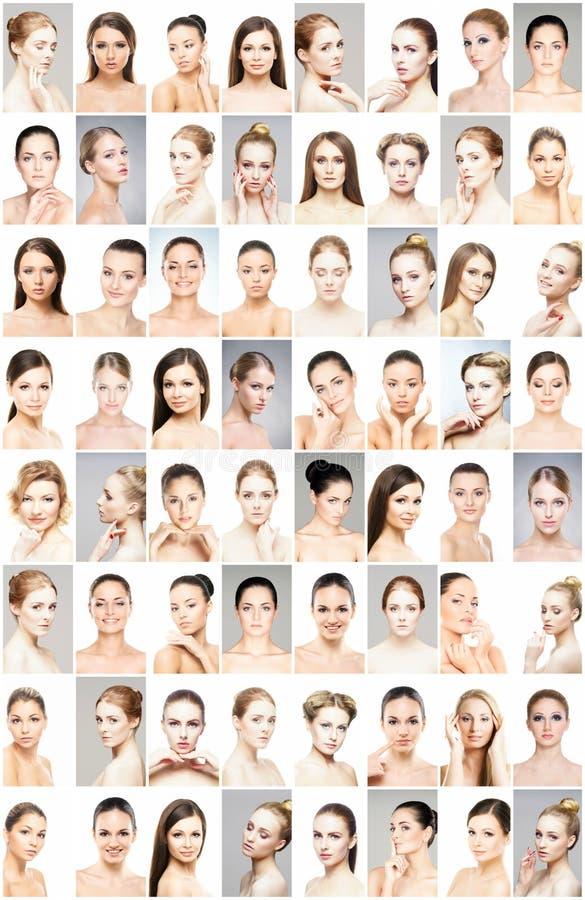 Bei fronti di giovani e donne in buona salute Chirurgia plastica, cura di pelle, cosmetici e concetto di lifting facciale fotografie stock libere da diritti