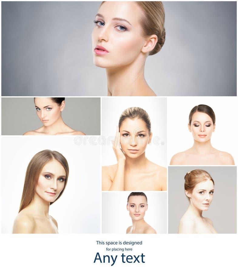 Bei, fronti femminili puri e sani Ritratto delle giovani donne in collage Sollevamento, skincare, chirurgia plastica e fotografia stock