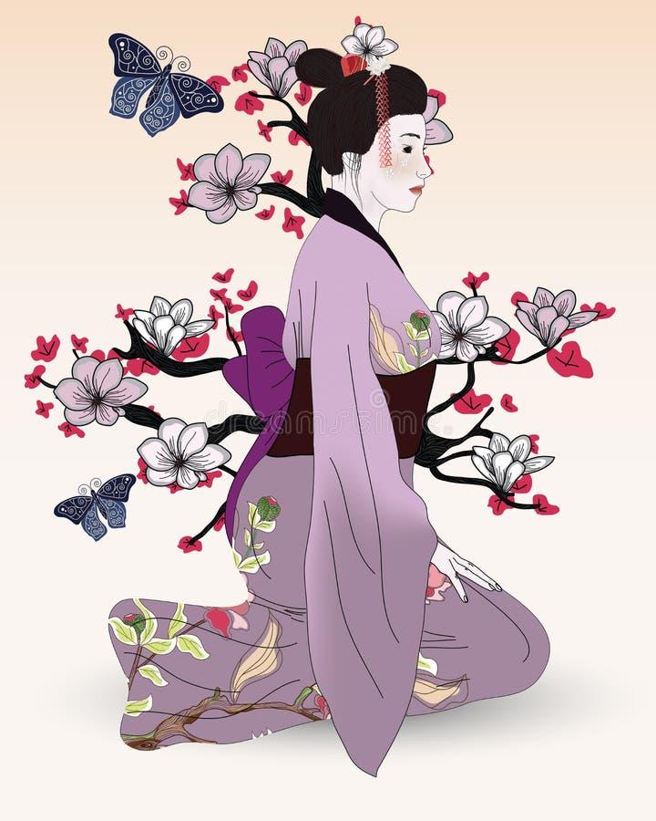 Bei geisha, albero della magnolia e farfalle royalty illustrazione gratis