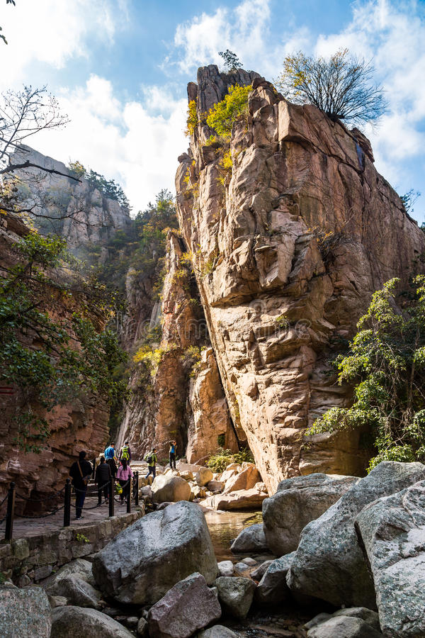 Bei Jiu Shui trail in Autumn, Laoshan Mountain, Qingdao, China. stock photography
