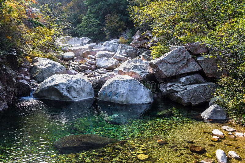 Bei Jiu Shui trail in Autumn, Laoshan Mountain, Qingdao, China. Bei Jiu Shui is famous for the many pools of crystal clear water and it`s waterfalls royalty free stock photos