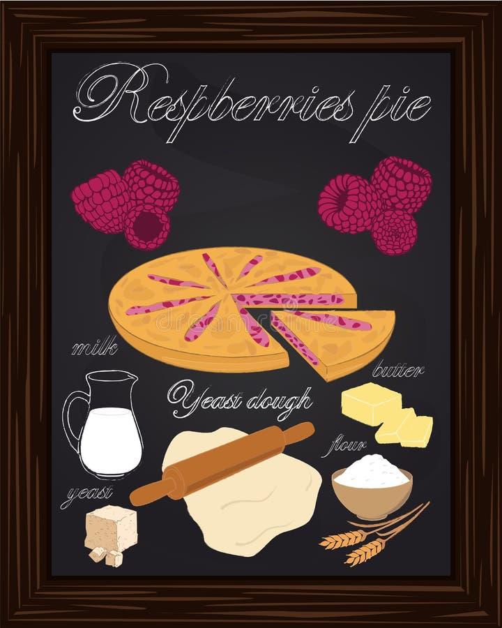 Bei lamponi torta ed ingredienti royalty illustrazione gratis