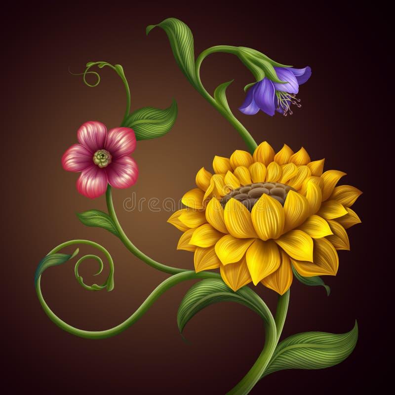 Bei molla di fantasia e fondo dei fiori di estate illustrazione vettoriale