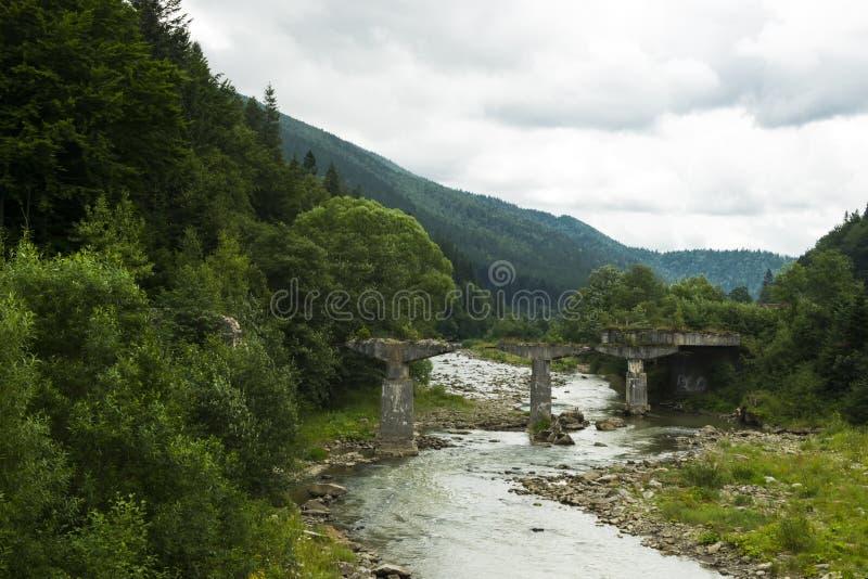 Bei montagne e paesaggio del fiume in carpatico immagini stock
