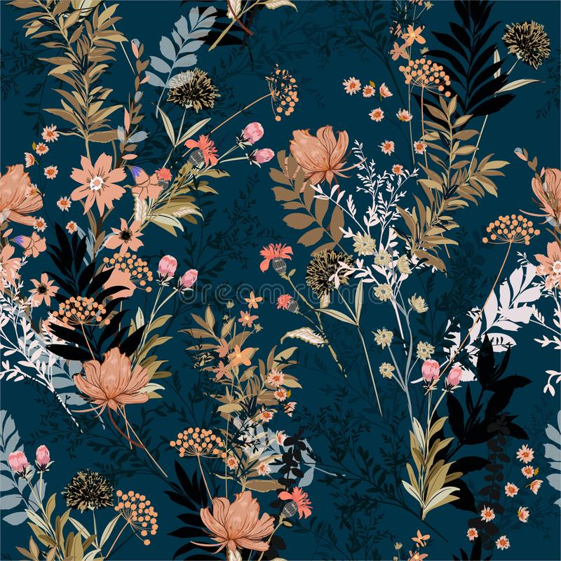 Bei morbido e delicato nel giardino scuro in pieno della f di fioritura royalty illustrazione gratis
