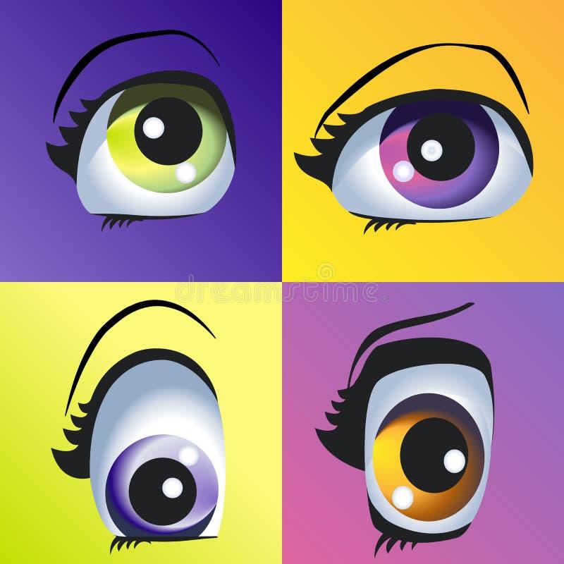 Bei occhi colorati illustrazione di stock