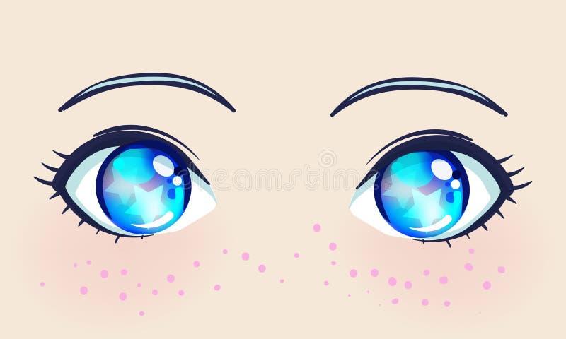 Bei occhi variopinti nello stile di anime (manga) con luce brillante illustrazione di stock