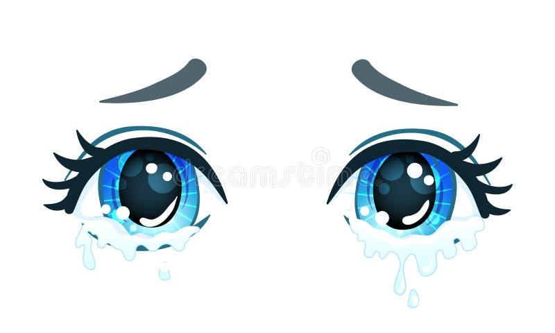 Bei occhi variopinti nello stile di anime (manga) con luce brillante royalty illustrazione gratis