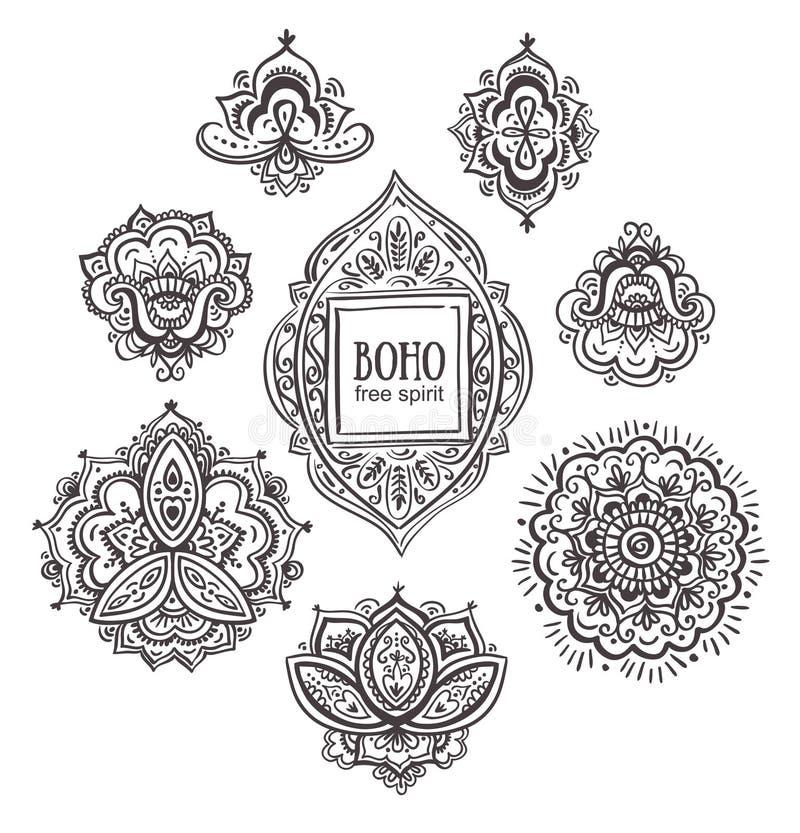 Bei ornamenti floreali indiani L'insieme di stile ornamentale di Boho fiorisce ed elementi royalty illustrazione gratis