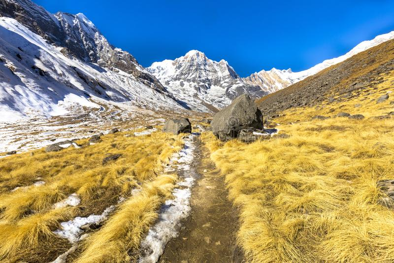 Bei paesaggi veduti sul modo a trekking del campo base di Annapurna fotografia stock libera da diritti
