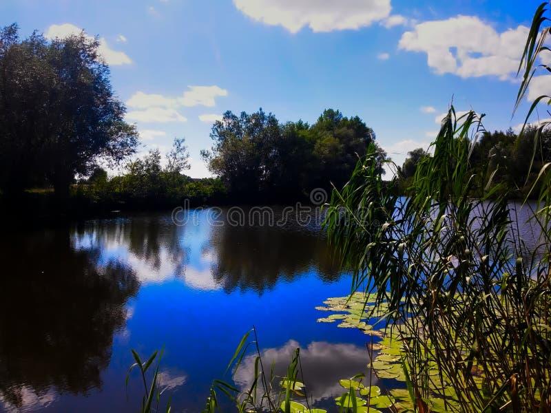 Bei paesaggio e cielo del lago fotografia stock libera da diritti