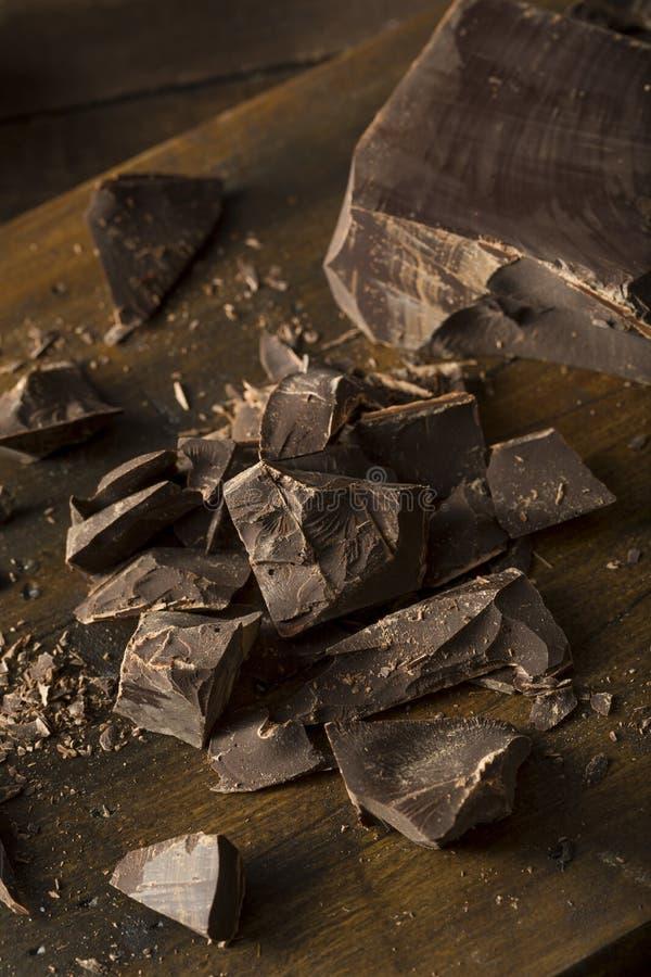 Bei pezzi dolci del cioccolato fondente dei semi organici fotografia stock