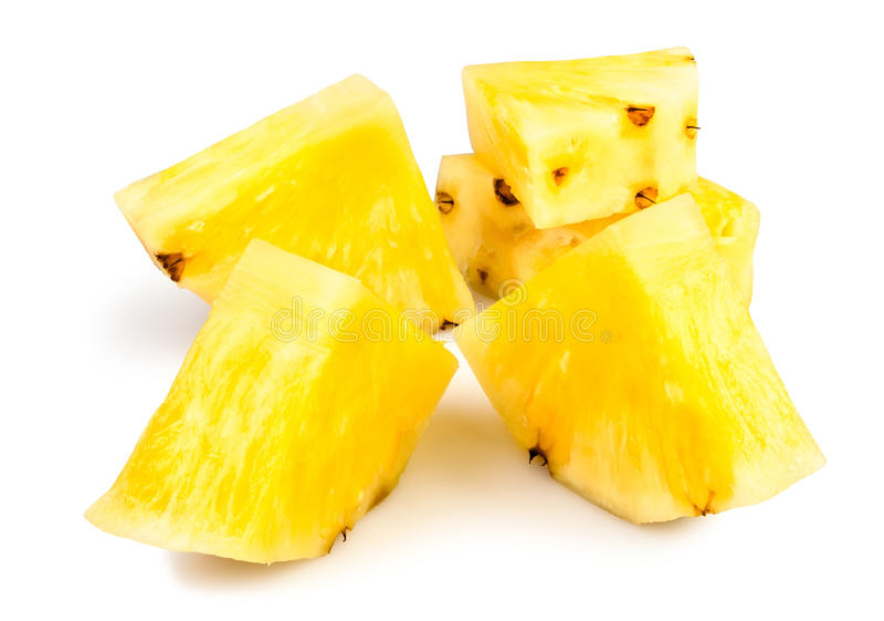 Bei pezzi sbucciati ananas fotografie stock