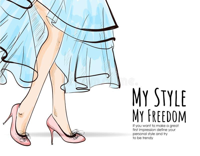 Bei piedini femminili Piedini con gli alti talloni Donna in un vestito blu Abbozzo di modo royalty illustrazione gratis