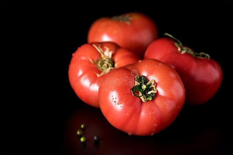 Bei pomodori e peperoncino rosso e peperone verde rossi freschi sul quadrato nero del fondo immagine stock