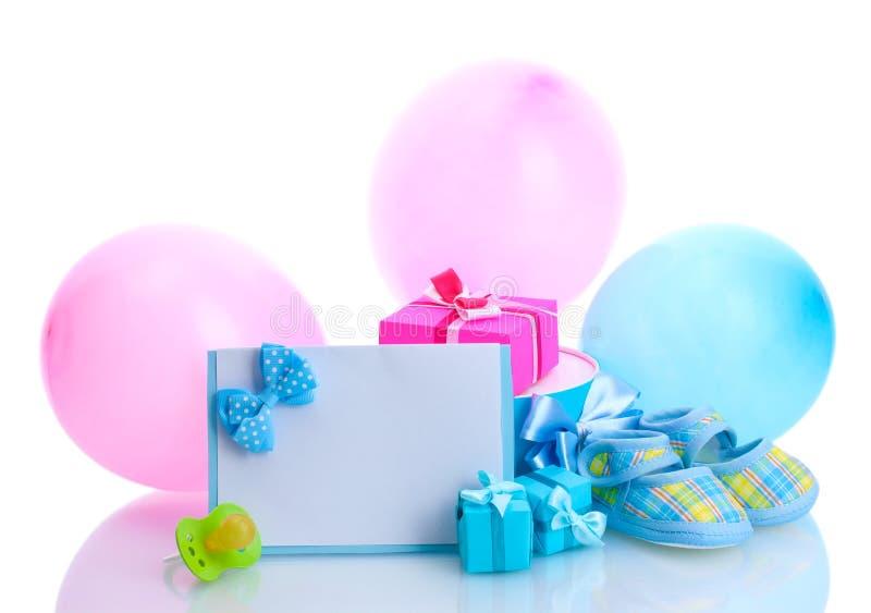 Bei regali, bootees del bambino immagine stock libera da diritti