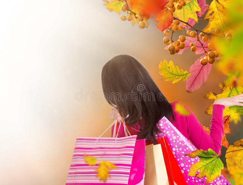 Bei sacchetti della spesa della tenuta della donna, acquisto nella stagione di autunno immagini stock