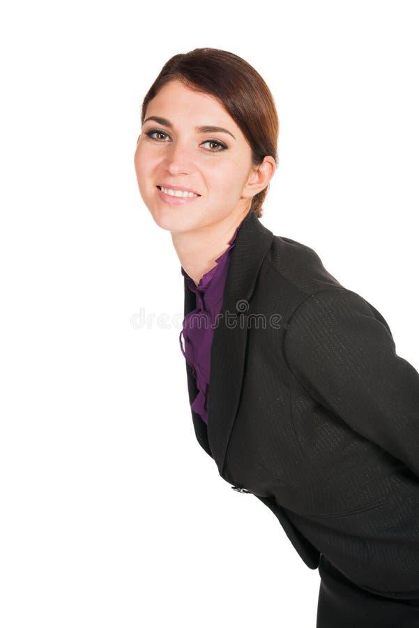 Bei sorrisi della donna di affari isolati fotografia stock libera da diritti
