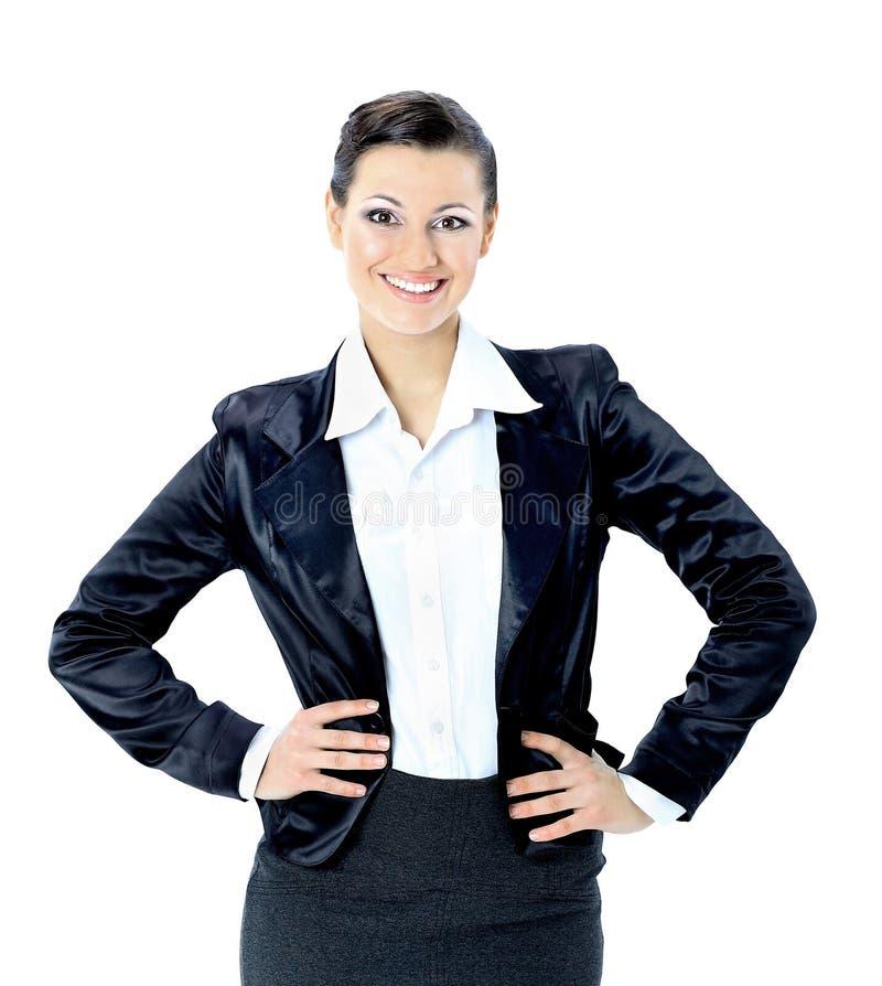 Bei sorrisi piacevoli della donna di affari fotografia stock libera da diritti