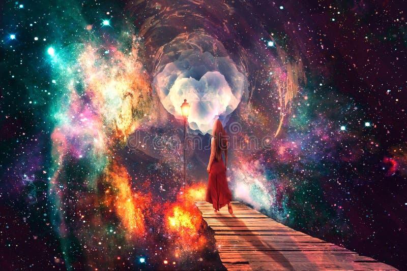 Bei supporti variopinti artistici della donna di Digital da solo in un materiale illustrativo multicolore dell'universo illustrazione di stock