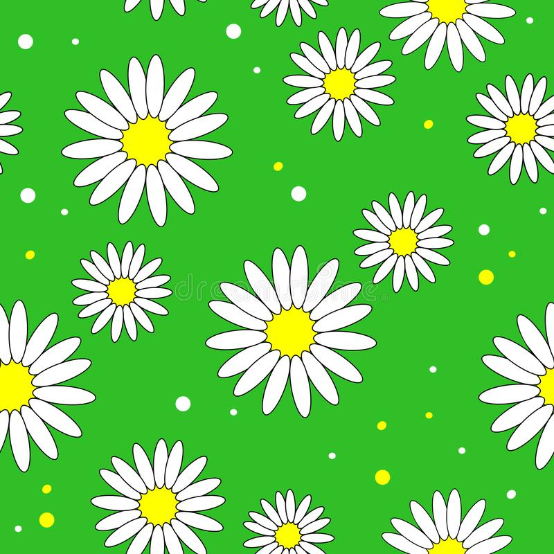 Bei tessuti creativi Fiore della margherita bianca su un fondo giallo Carta da parati per la stanza dei bambini, spostamento di r illustrazione di stock