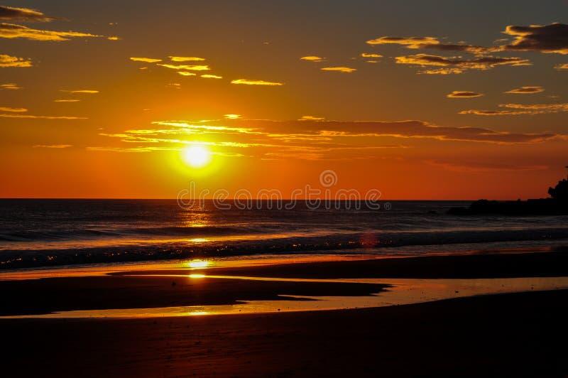 Bei tramonti del EL Zonte, El Salvador di Playa fotografia stock libera da diritti