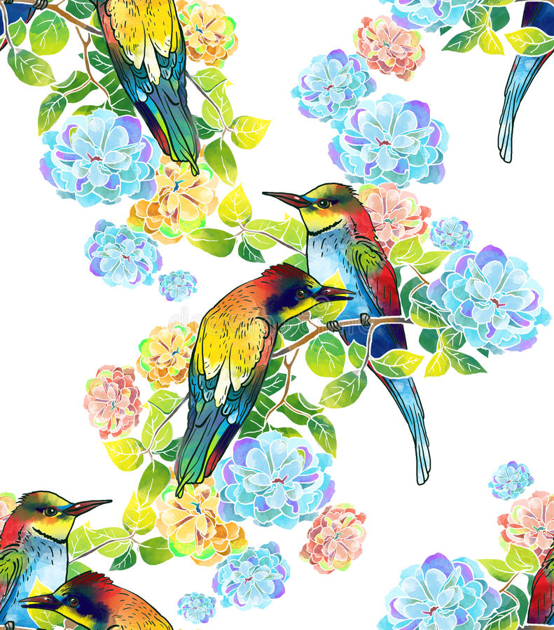 Bei uccelli dell'acquerello e fiori delicati royalty illustrazione gratis